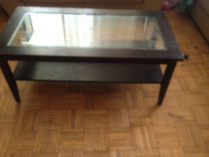 Glass top hard wood coffee table & ends