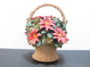 """2 CHRISTMAS """"POINSETTIAS IN A BASKET"""" MUSIC BOX - MINT COND."""