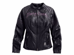 New Harley Davidson MISTY WILLOW Winged Black Leather Jacket