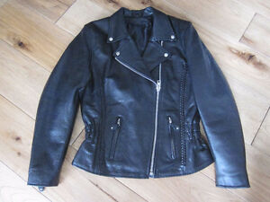 Women's Bull Faster Genuine Leather Motorcycle Jacket and access