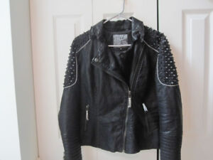 Affliction Faux Leather Studded Jacket - Medium - like new!