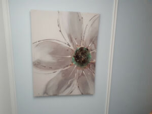 Large canvas with flower print / cadre canvas avec fleur imprime