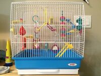 Bird cage loaded with toys