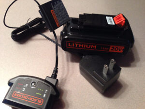 Black & Decker 20 VOLT  LITHIUM-ION BATTERY and CHARGER