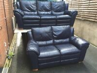Keens 3 & 2 blue full leather sofa set - 3 seater has recliners