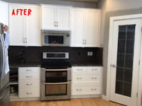 IN PAINT SHOP REFINISHING, REPAINTING KITCHEN FRONTS
