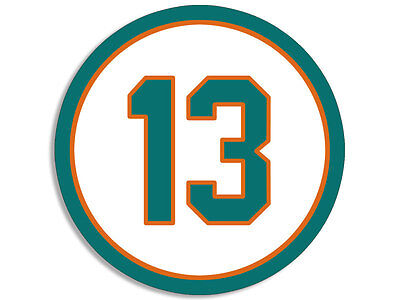 (4x4 inch ROUND 13 Dolphins Colors Number Sticker -decal miami florida dan marino)