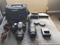 Canon 1200D DSLR with 18-55 lens and 75-300 lens