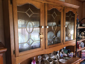 Keep your fragile treasures in this Oak 2-Piece China Hutch