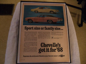 OLD CHEVELLE CLASSIC CAR FRAMED ADS