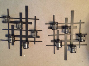 Metal wall sconces with glass tea light holders
