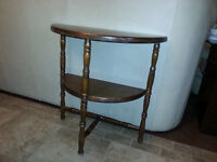Antique small half-moon real wood console with shelf 1930 Walnu
