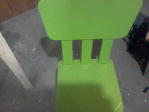 Ikea chair plastic green in color
