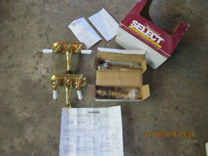 2  New Alike Brass Bathroom Faucets with Drain Spouts - Oshawa -
