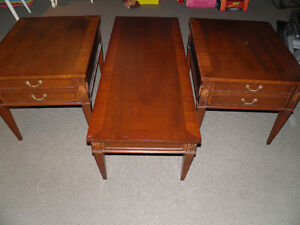 Solid Hardwood coffee and end tables from 60s protected by glass