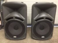 "kam sound force 15"" speakers and power amp"