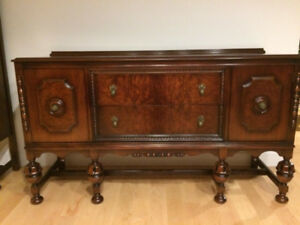 Antique Walnut China Cabinet and Buffet