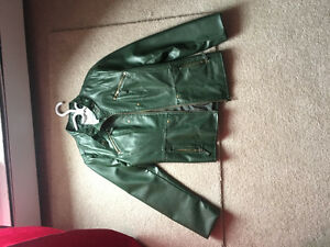 Leather coat-green