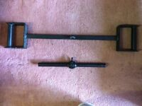 2 HEAVY DUTY BLACK CAST IRON WEIGHT LIFTING CABLE ATTACHMENTS
