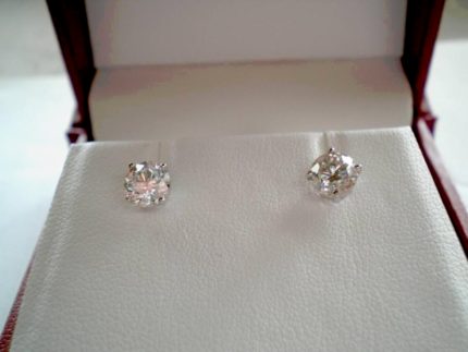 LARGE DIAMOND EARRINGS - 1.50CT = .75CT EACH - !!!SIZE MATTERS!!!