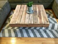 Rustic Solid Wood (Oak) Coffee Table on Hairpin Legs