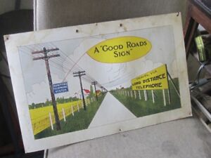 1930s MTS MANITOBA TELEPHONE SYSTEM CARDBOARD SIGN $40.00