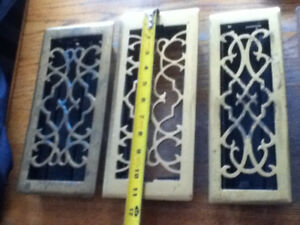 3 Brass Floor Heat Register Vents Vintage Style