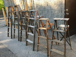 5 LEFT -  VINTAGE WOODEN LADDERS - 4 HEIGHTS