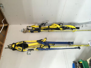 2 aerial lift harnesses and 6 ft lanyards