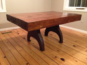 Hand-made Rustic Wooden Dining Table. Beautiful Barn Beams.