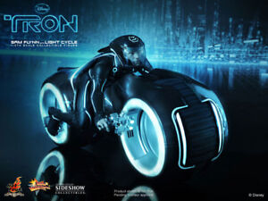 Sam Flynn with Light Cycle HOTTOYS:  Tron Legacy