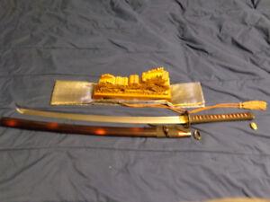 Full Tang Black&Red DAMASCUS Katana Japanese Samurai Sharp Blade