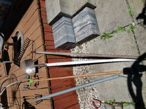 Farm tools,  Yard tools.  Old pieces in used conditon
