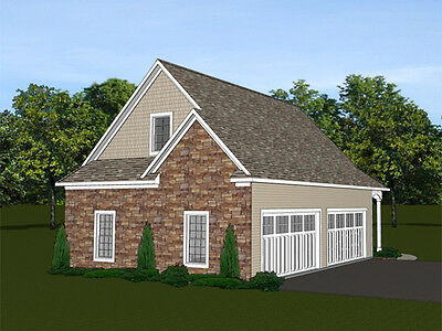 4-car garage plans 46x30 w/ Loft plan 1,220 sf #1373