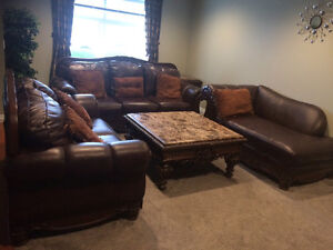 Ashely leather sofa set