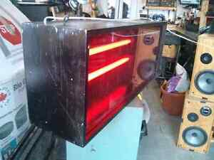 Display box with red plexiglass and dual florescent