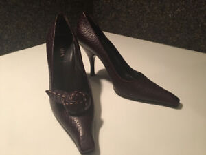 PRADA grain-leather maroon stilettos with rose detail