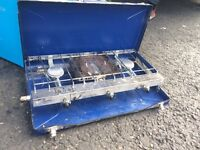 Camping stove, cool box, water carriers