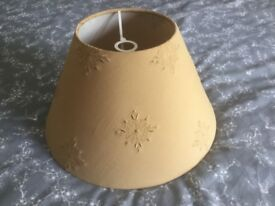 Lovely cloth embroidered covered lampshade 14ins diameter