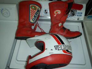 Dirt bike boots (size 9) and helmet (Med, size 7 1/8-7 1/4)