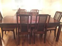 Wood Dining Room Table with 6 Chairs
