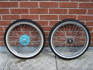 20 inch aluminum alloy Bicycle Wheel Set with nearly new tires.