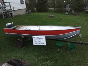 14' aluminum with 6 hp short shaft evinrude and trailer
