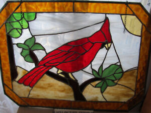 """Hand crafted stained glass cardinal 25"""" x18.5"""""""