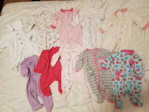 45 piece nb, 0-3, 3-6 month babygirl clothing lot.