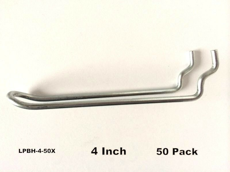 "(50 PACK) 4"" Looped Metal Peg Hooks w/Elevated Tip. Fits 1/8 & 1/4 Pegboard"