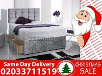 Brand New DOUBLE Crush Velvet Divan Bed Available With Mattress Order Now Corsica