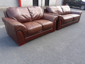 Brown Leather 3&2 Seater Sofas