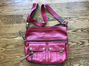 Red Leather Fossil Morgan Crossbody Purse