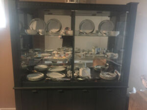 Large Green China Cabinet with Matching Table